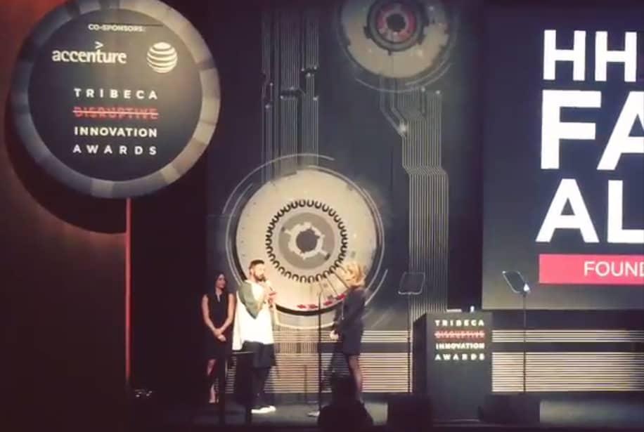 Prince Fahad collecting his award