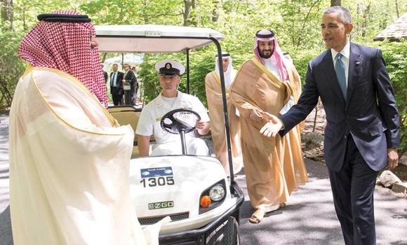 Saudi Princes at Camp David with President Obama (Photo SPA)