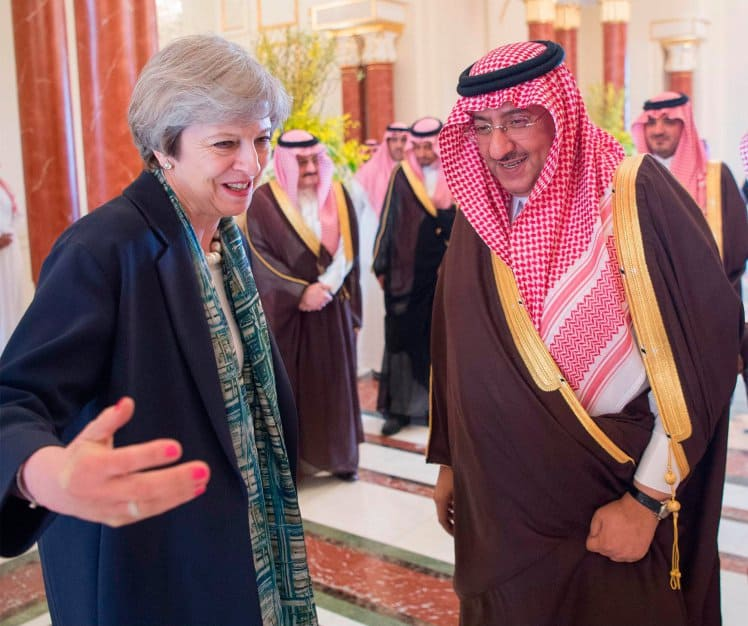 Teresa May with Crown Prince Mohammed bin Nayef al Saud