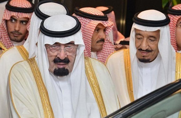 Former King Abdullah and the then Crown Prince Salman
