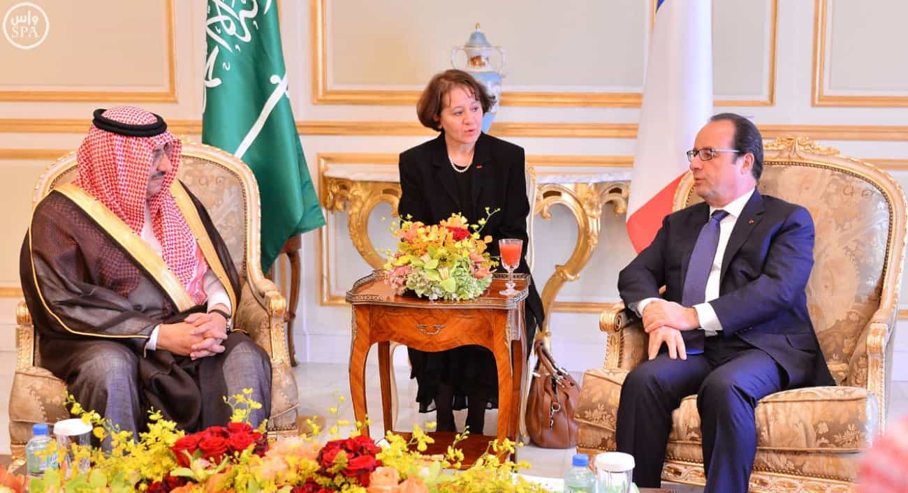 Crown Prince Meets French President (Photo courtesy SPA)