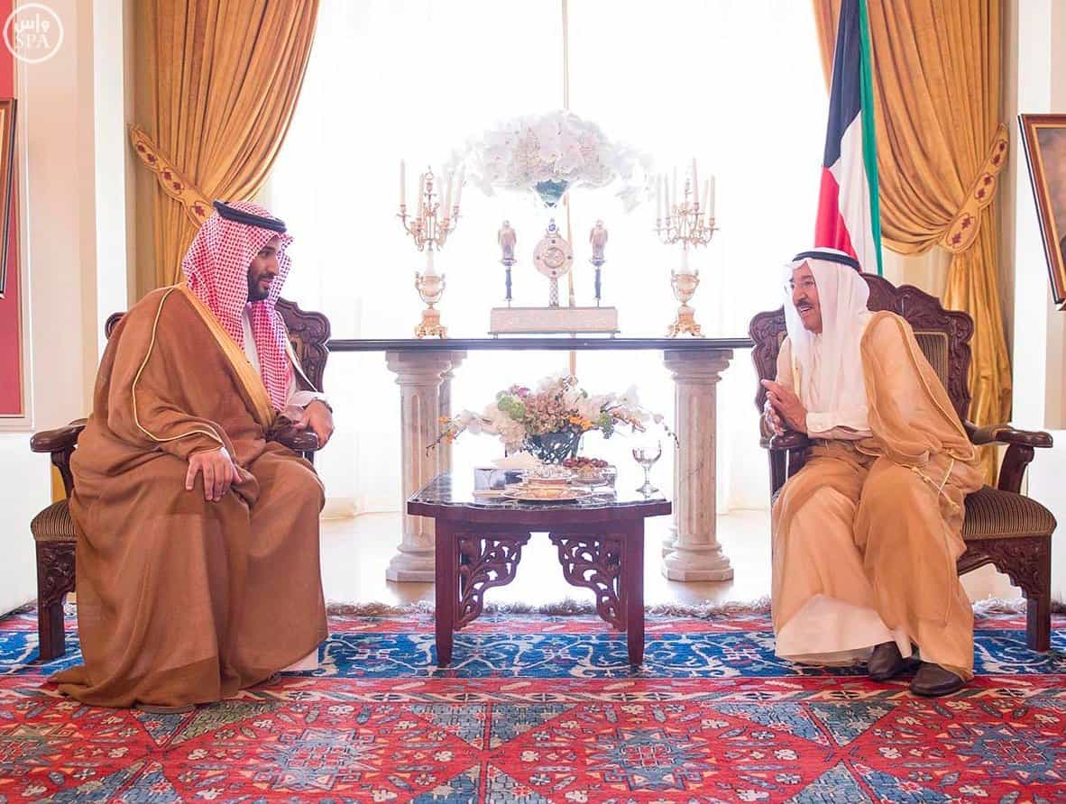 Sheikh Jaber and Deputy Crown Prince Mohammed bin Salman in Kuwait today (Photo SPA)