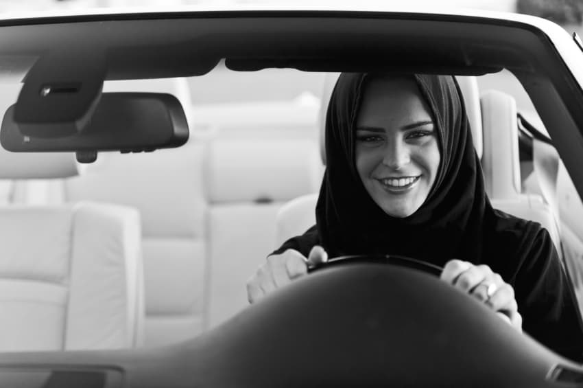 Saudi woman breaking the driving ban